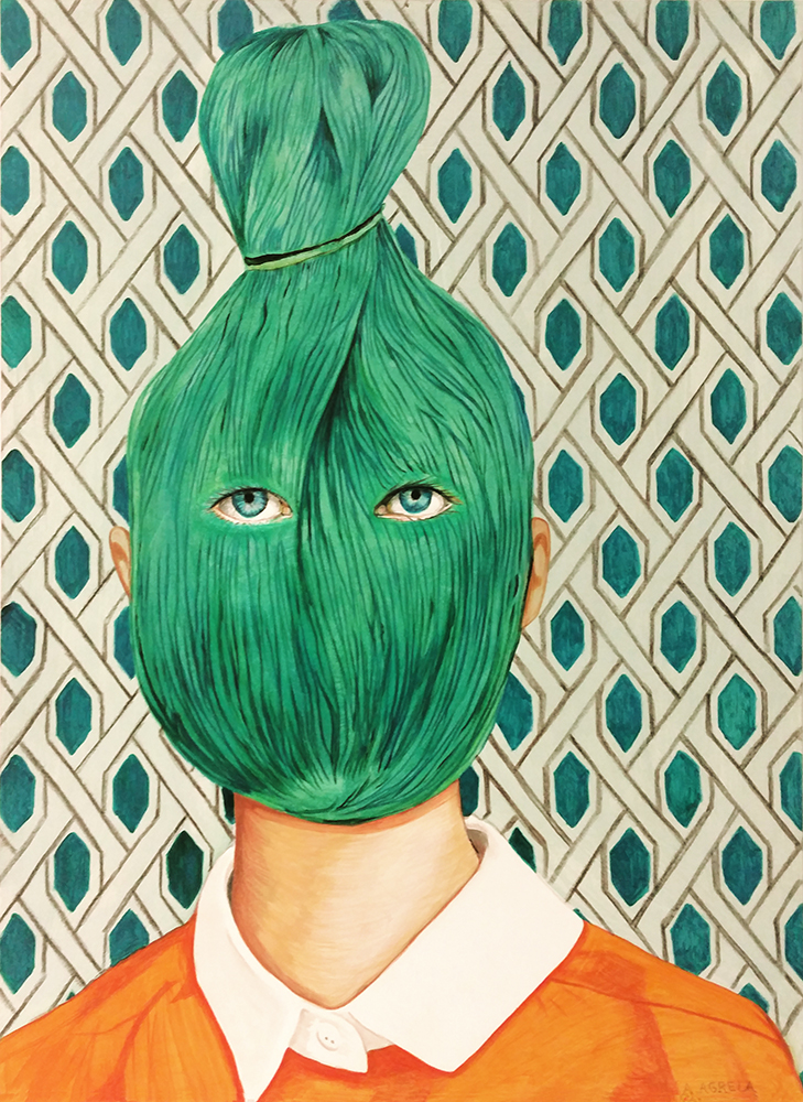 Ángeles Agrela Retrato nº 59, 2015 Acrílico y lápiz sobre papel 50 x 35 cm