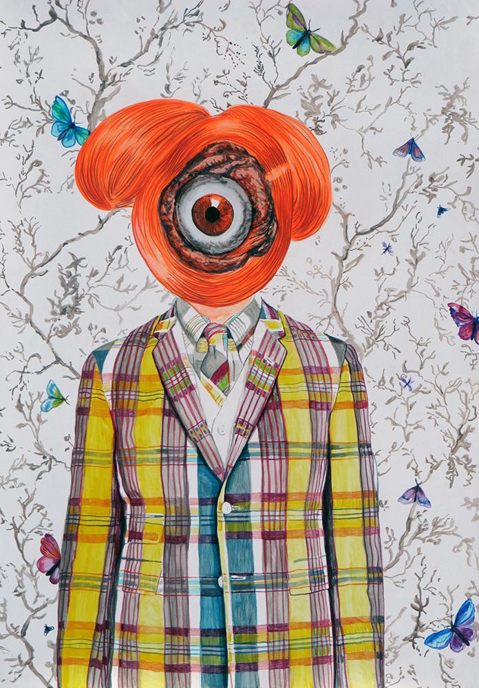 Ángeles Agrela Retrato nº42, 2014 Acrílico y lápiz sobre papel 100 x 70 cm