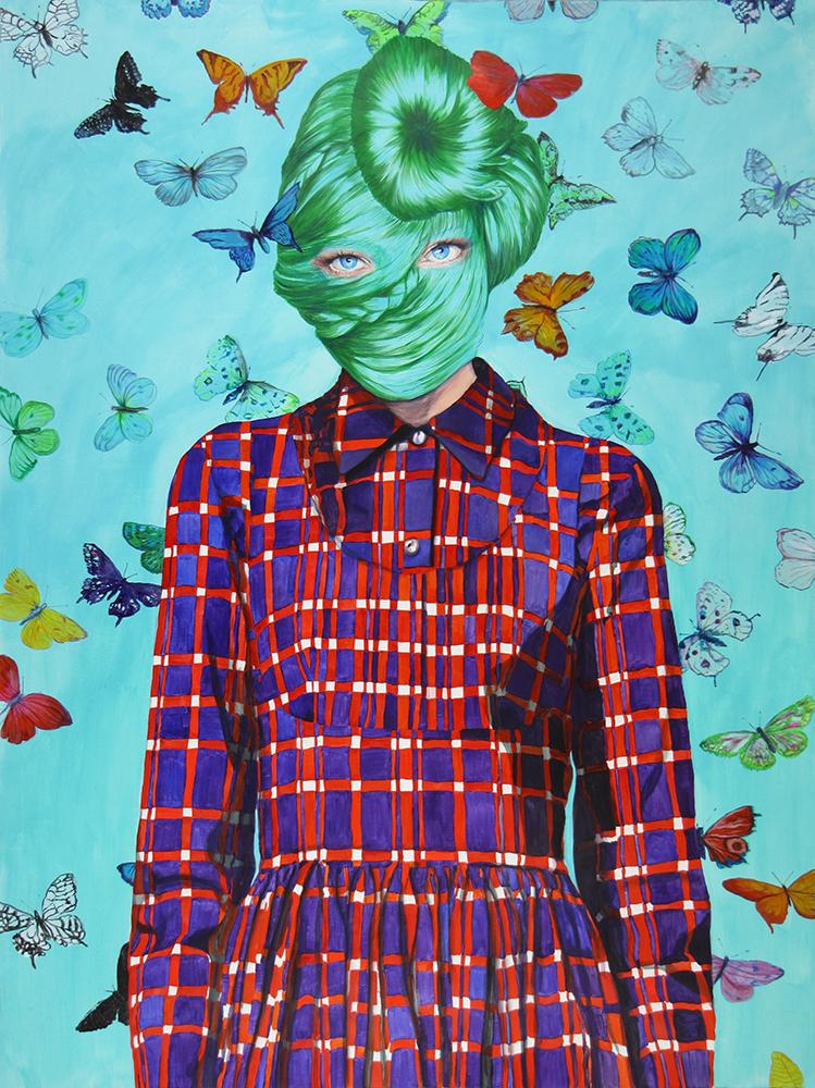 Ángeles Agrela Retrato nº 64, 2015 Acrílico y lápiz sobre papel  200 x 150 cm
