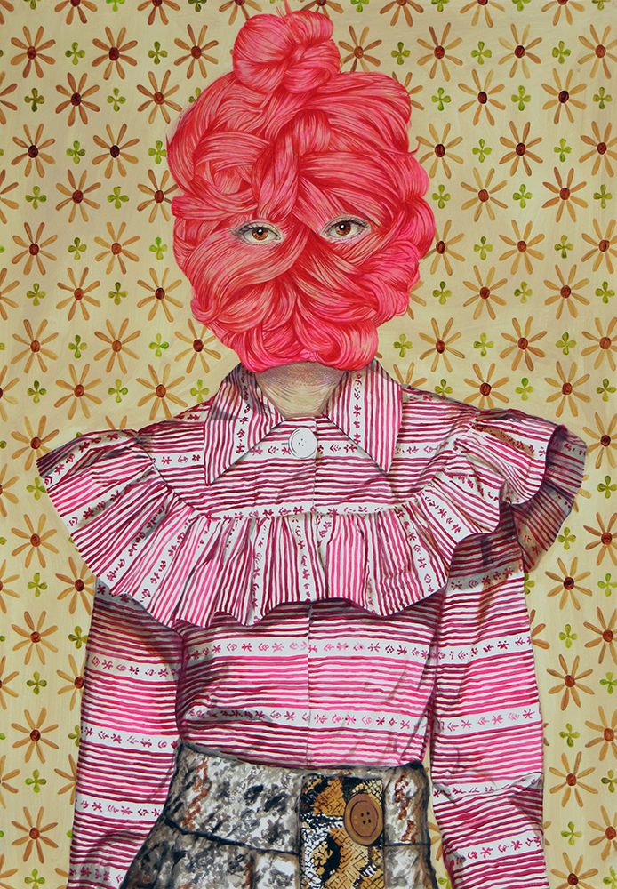Ángeles Agrela Retrato nº 65, 2015  Acrílico y lápiz sobre papel  100 x 70 cm