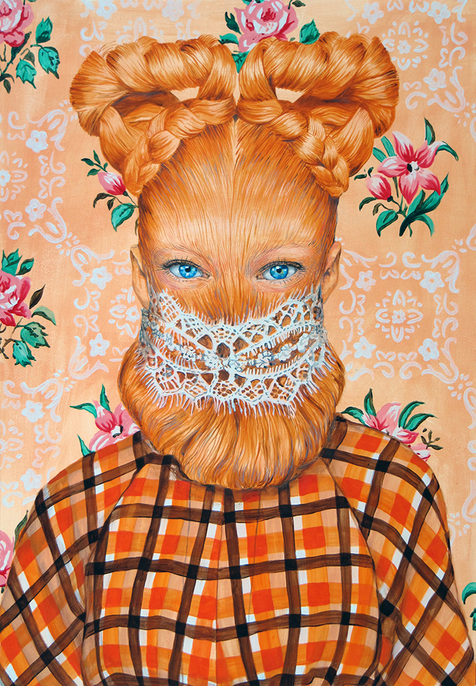 Ángeles Agrela Retrato nº77, 2015 Acrílico y lápiz sobre papel  100 x 70 cm