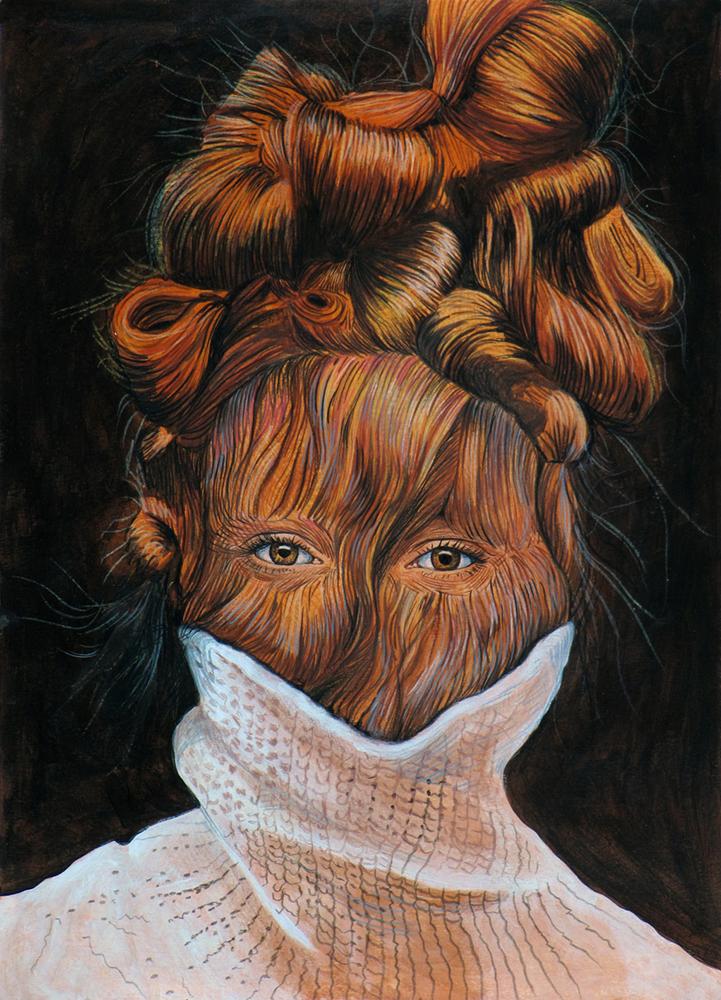 Ángeles Agrela Retrato nº 74, 2015 Acrílico y lápiz sobre papel 50 x 35 cm