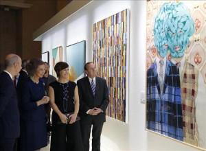 Angeles Agrela con la Reina Sofía en la entrega premio BMW de Pintura