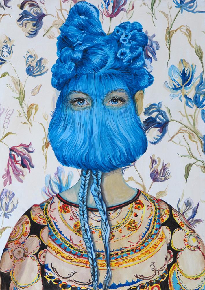 Angeles Agrela nº 41 Retrato, 2015 | Acrílico y lápiz sobre papel | 70 x 50 cm