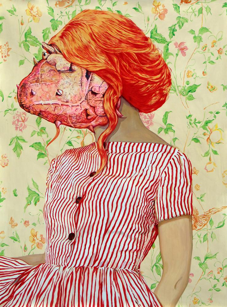 Angeles Agrela nº49 Retrato, 2014  | Acrílico y lápiz sobre papel  | 200 x 150 cm
