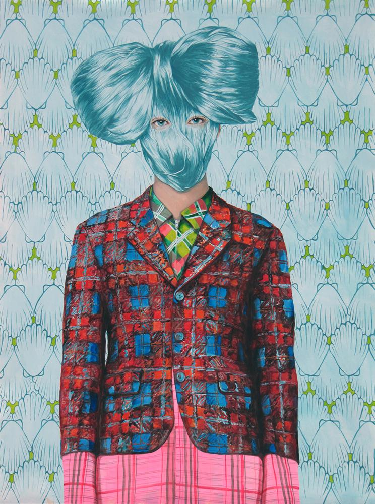 Ángeles Agrela retrato nº 55, 2014 Acrílico y lápiz sobre papel  200 x 150 cm