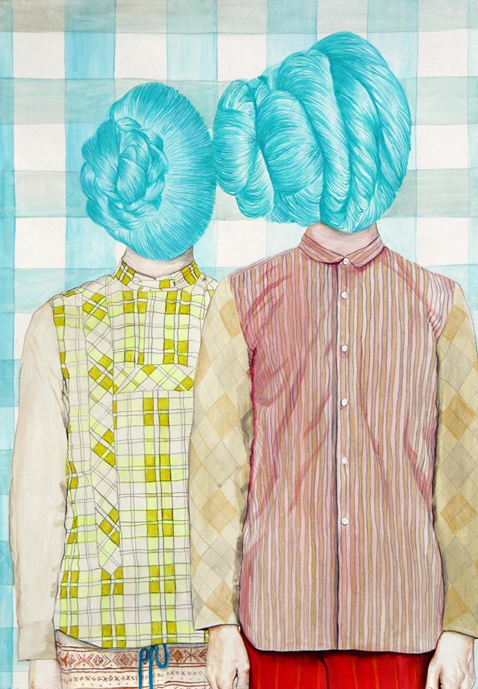 Angeles Agrela nº 70 Retrato, 2015  |  Acrílico y lápiz sobre papel  |  100 x 70 cm